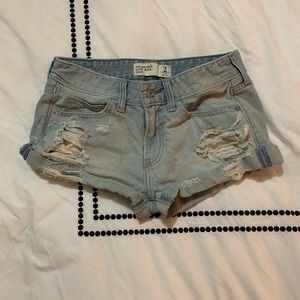 A&F distressed cuff low rise shorts